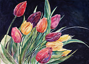 Green And Red Colored Paintings - Fresh Tulips by Renae Hill