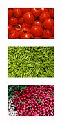 Green Beans Posters - Fresh Vegetable Triptych Poster by Thomas Marchessault