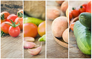 Healthy Eating Art - Fresh Vegetables collage by Mythja  Photography