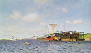 Boats On Water Painting Framed Prints - Fresh Wind on the Volga Framed Print by Isaak Ilyich Levitan