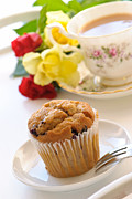 High Prints - Freshly Baked Muffin With Tea Print by Christopher and Amanda Elwell