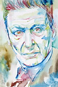 Freud Prints - Freud Lucian Watercolor Portrait Print by Fabrizio Cassetta