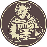 Woodcut Metal Prints - Friar Monk Cook Mixing Bowl Woodcut Metal Print by Aloysius Patrimonio