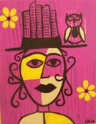 Owl Paintings - Frida and the city by Kerri Ambrosino GALLERY