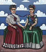 Rivera Painting Posters - Frida Beside Myself Poster by Victoria De Almeida