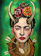 Leader Drawings Posters - Frida Poster by Britt Kuechenmeister