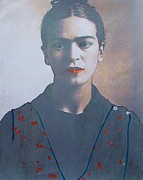 Female Artist Prints - Frida in Sepia  2 Print by Pg Reproductions