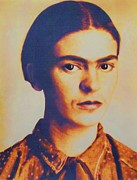 Activist Mixed Media Prints - Frida In Sepia  3 Print by Pg Reproductions