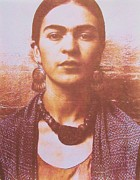 Mexican Mixed Media Acrylic Prints - Frida In Sepia  4 Acrylic Print by Pg Reproductions