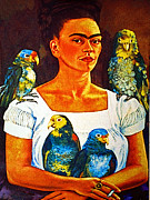 Parrots Prints - Frida in Tlaquepaque Print by Olden Mexico