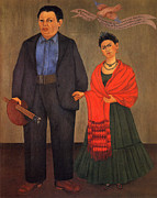 Rivera Painting Prints - Frida Kahlo and Diego Rivera 1931 Print by Pg Reproductions