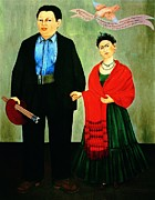 Mexican Artists Framed Prints - Frida Kahlo and Diego Rivera Framed Print by Pg Reproductions