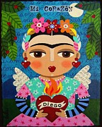 Paiting Metal Prints - Frida Kahlo Angel and Flaming Heart Metal Print by LuLu Mypinkturtle