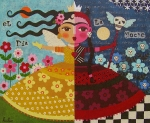 Folk Art  Paintings - Frida Kahlo Angel Devil Queen by LuLu Mypinkturtle