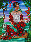 Evening Dress Paintings - Frida Kahlo as a Mermaid by Ilene Satala
