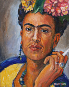 Becky Kim Painting Metal Prints - Frida Kahlo Metal Print by Becky Kim
