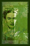 Rivera Mixed Media Framed Prints - Frida Kahlo - between worlds - green Framed Print by Richard Tito