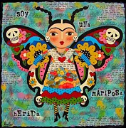 Frida Framed Prints - Frida Kahlo Butterfly Framed Print by LuLu Mypinkturtle