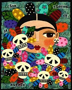 Folk Art  Paintings - Frida Kahlo Day of the Dead Flowers by LuLu Mypinkturtle