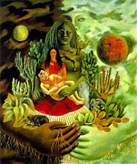 Reproduction Metal Prints - Frida Kahlo Love Embrace Metal Print by Pg Reproductions