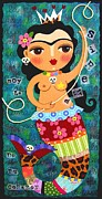 Folk  Paintings - Frida Kahlo Mermaid Queen by LuLu Mypinkturtle
