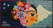 Low Brow Framed Prints - Frida Kahlo Sugar Skull Angel Framed Print by LuLu Mypinkturtle