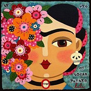 Rivera Framed Prints - Frida Kahlo with Flowers and Skull Framed Print by LuLu Mypinkturtle
