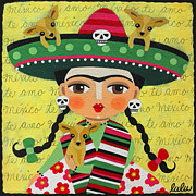 Dog Art Of Chihuahua Framed Prints - Frida Kahlo with Sombrero and Chihuahuas Framed Print by LuLu Mypinkturtle