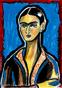 Girls Mixed Media - Frida on Blue by Mary C Wells