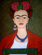 Madalena Lobao-tello Prints - Frida portrait with dahlias Print by Madalena Lobao-Tello