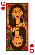 Madalena Lobao-tello Prints - Frida queen of hearts Print by Madalena Lobao-Tello
