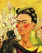 Activist Painting Prints - Frida Self Portrait with Chango and Loro Print by Pg Reproductions
