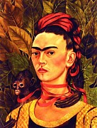 Activist Painting Prints - Frida Self portrait with Monkey Print by Pg Reproductions