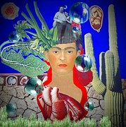 Rivera Mixed Media Framed Prints - Frida Tribute Collage Framed Print by Amanda Schreiber