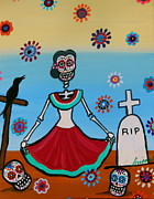 Pristine Cartera Turkus Prints - Frida Visiting The Grave Print by Pristine Cartera Turkus