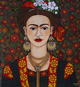 Madalena Lobao-tello Prints - Frida with butterflies Print by Madalena Lobao-Tello