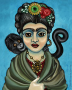 Freda Framed Prints - Fridas Monkey Framed Print by Victoria De Almeida