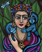 Dragonflys Paintings - Fridas Monkeys by Victoria De Almeida