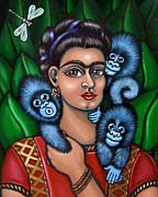 Mexican Art Painting Posters - Fridas Triplets Poster by Victoria De Almeida