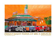 First Friday Prints - Friday Night Fords at Mels the Poster Print by Jack Pumphrey