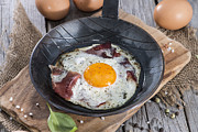 Sunny Side Up Egg Prints - Fried Egg in a Pan Print by HandmadePictures