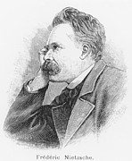 Collar Drawings Prints - Friedrich Wilhelm Nietzsche Print by French School