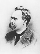 Male Portraits Framed Prints - Friedrich Wilhelm Nietzsche in 1883 Framed Print by German Photographer