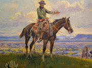 Western Western Art Prints - Friend Detail Print by Charles Russell