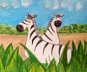 Zebra Paintings - Friend zebras by Asuncion Purnell