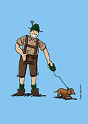 Vector Posters - Friendly Lederhosen Man With Dachshund Poster by Frank Ramspott