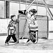 Youth Hockey Prints - Friendly Little Referee  Print by Elizabeth Urlacher