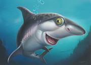 Sharks Painting Posters - friendly Shark Cartoony cartoon under sea ocean underwater scene art print blue grey  Poster by Walt Curlee