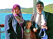Friendly Digital Art - Friendly Turkish Family on Ferry Ride across Dardenelles from Cannakale-Turkey by Ruth Hager