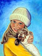 Sweater Painting Originals - Friends A Girl and Her Pet by Ruth Bodycott